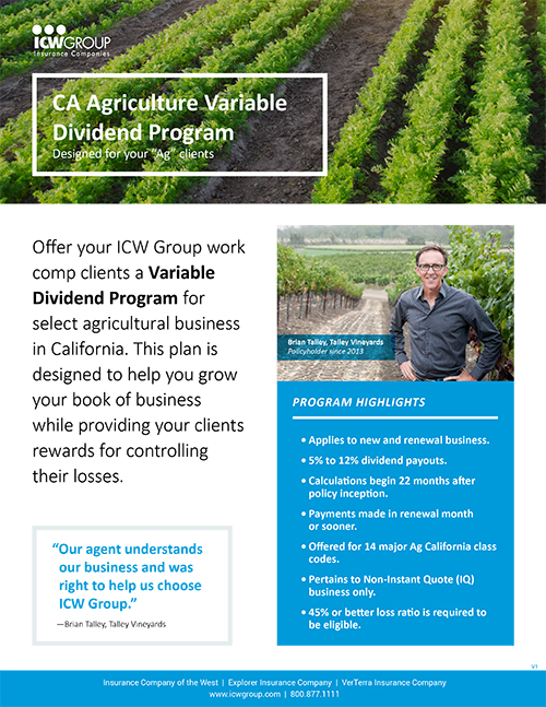 California agriculture variable dividend program flyer