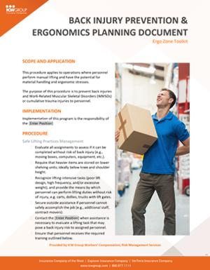 Industrial Ergonomics Planning Document.