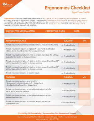 Industrial Ergonomics Checklist.