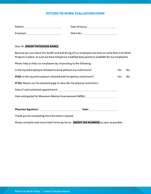 Return to work medical evaluation form from the Building a Successful Return to Work Program webinar.