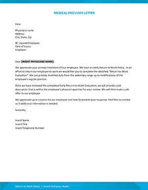 Return to work medical provider letter form from the Building a Successful Return to Work Program webinar.