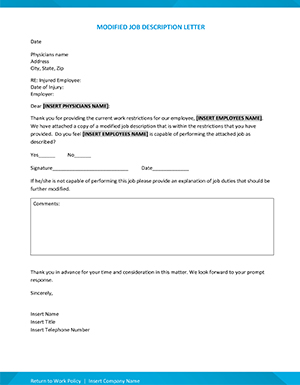 Return to work modified job letter form from the Building a Successful Return to Work Program webinar.