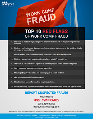 Top ten indicators of work comp fraud flyer
