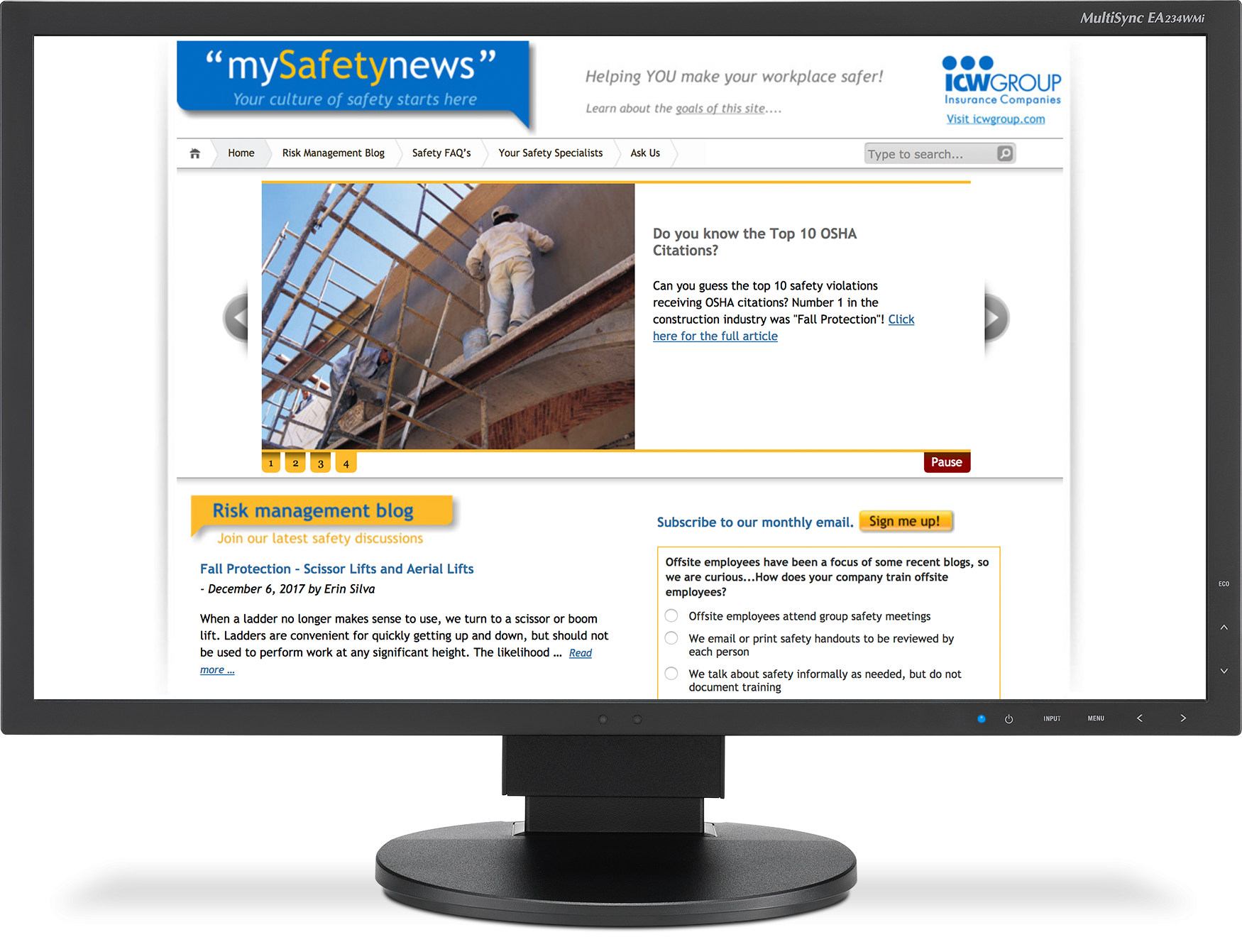 mySafetynews displaying on a monitor