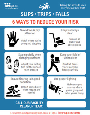 Six ways to reduce your risk of slips, trips and falls flyer.