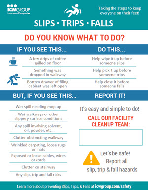 Slips, Trips, Falls Do You Know What to Do? Flyer.
