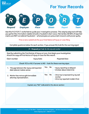 Worksheet to guide your work comp fraud investigation.