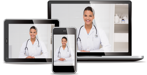 Telemed virtual telemedicine appointment on various devices
