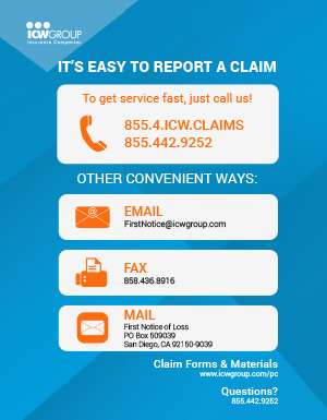 ICW Group's postcard about how to report a claim.
